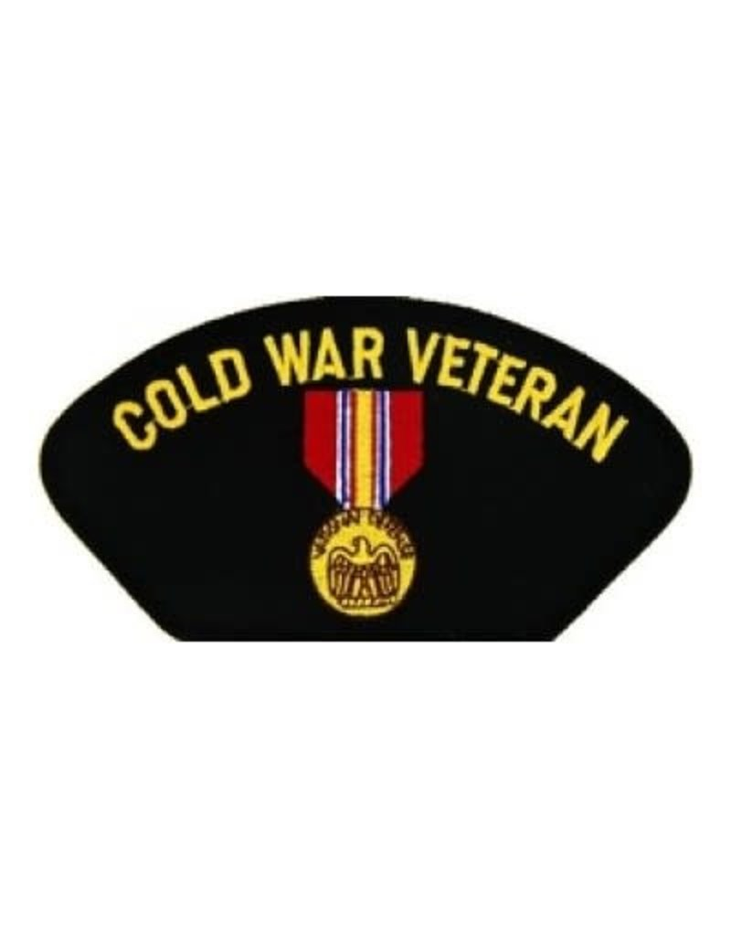 "MidMil Embroidered Cold War Veteran Patch with  National Defense Medal 5.2"" wide x 2.7"" high Black"