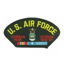 "MidMil Embroidered U.S. Air Force Korean War Veteran 1950-1953 Patch with Emblem and Ribbons 5.2"" wide x 2.7"" high Black"