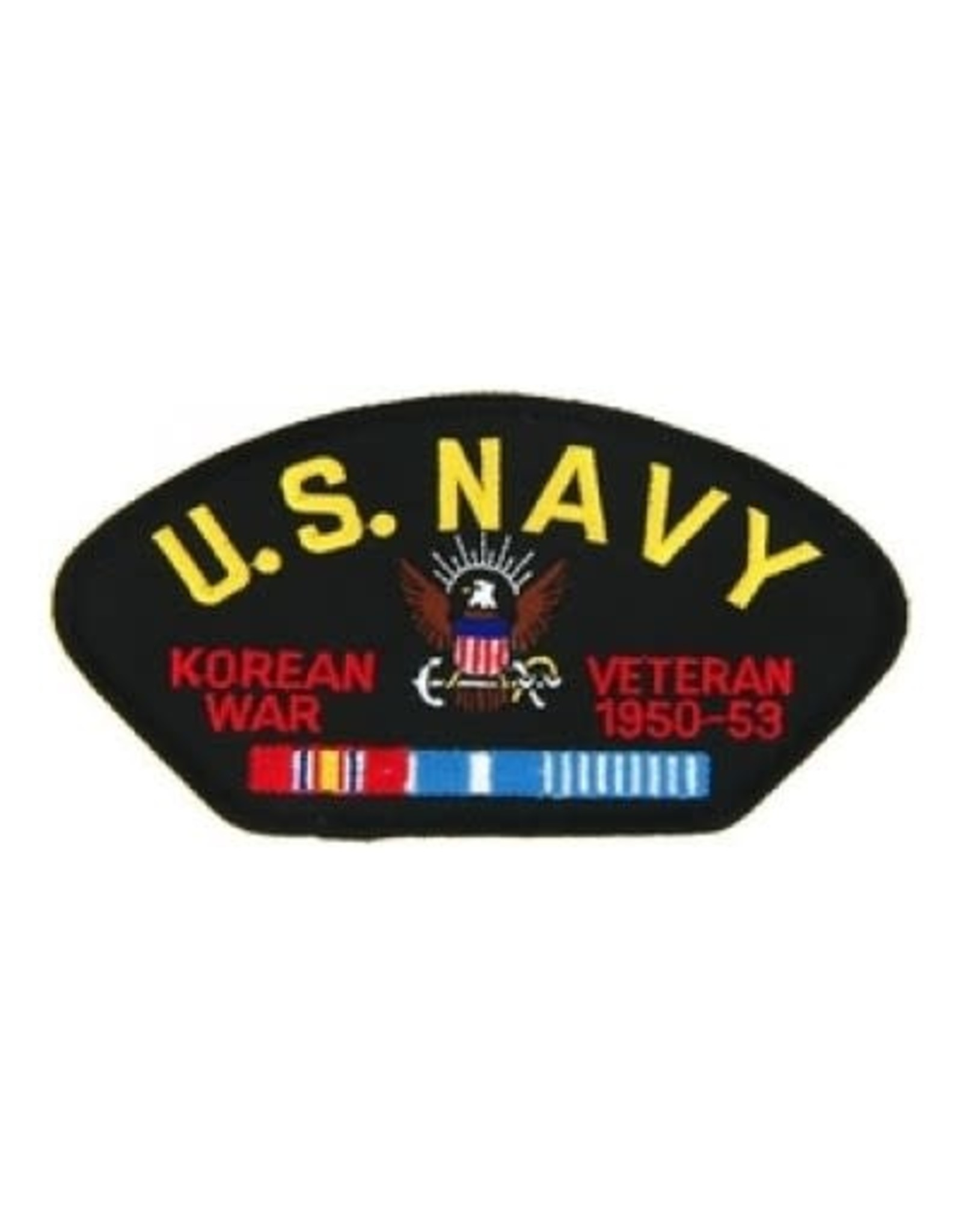 """MidMil Embroidered U.S. Navy Korean War Veteran 1950-1953 Patch with Emblem and Ribbons 5.2"""" wide x 2.7"""" high Black"""