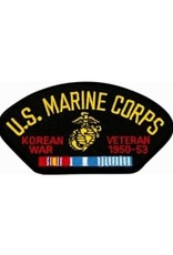 "MidMil Embroidered U.S. Marine Corps Korean War Veteran 1950-1953 Patch with Emblem and Ribbons 5.2"" wide x 2.7"" high Black"