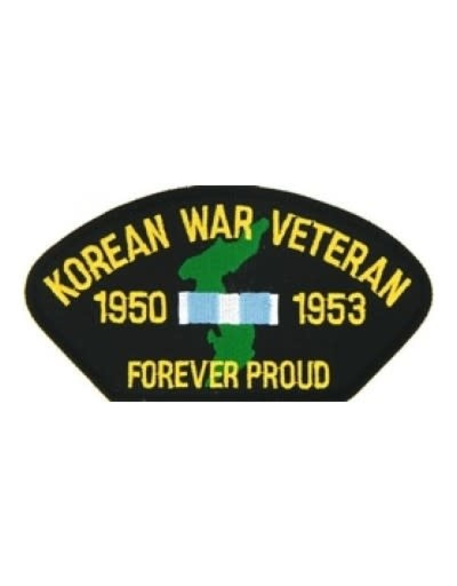 "MidMil Embroidered Korean War Veteran 1950-1953 Forever Proud Patch with Map and Ribbon 5.2"" wide x 2.7"" high Black"