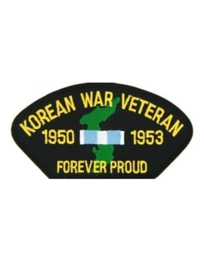 """MidMil Embroidered Korean War Veteran 1950-1953 Forever Proud Patch with Map and Ribbon 5.2"""" wide x 2.7"""" high Black"""