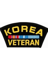 "MidMil Embroidered Korea Veteran Patch with  Ribbons 5.4"" wide x 2.8"" high Black"
