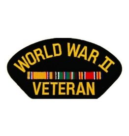 "MidMil Embroidered World War II Veteran Patch with European Ribbons  5.2"" wide x 2.7"" high Black"
