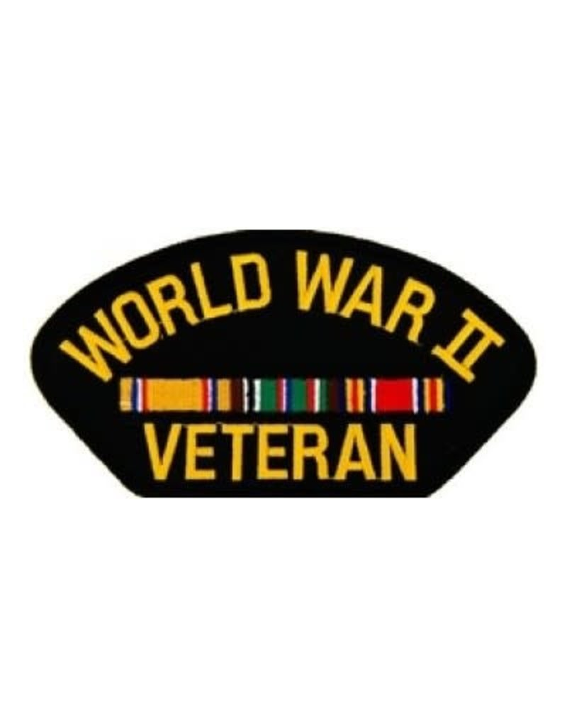 """MidMil Embroidered World War II Veteran Patch with European Ribbons  5.2"""" wide x 2.7"""" high Black"""