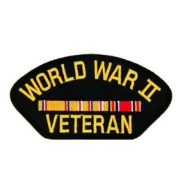 "MidMil Embroidered World War II Veteran Patch with Asiatic Ribbons 5.2"" wide x 2.7"" high Black"