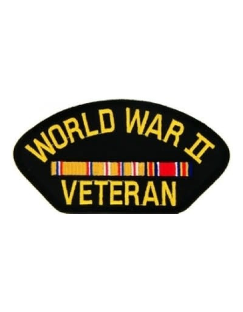 """MidMil Embroidered World War II Veteran Patch with Asiatic Ribbons 5.2"""" wide x 2.7"""" high Black"""