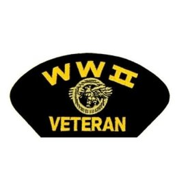 "MidMil Embroidered WWII Veteran Patch with Ruptured Duck 5.2"" wide x 2.7"" high Black"