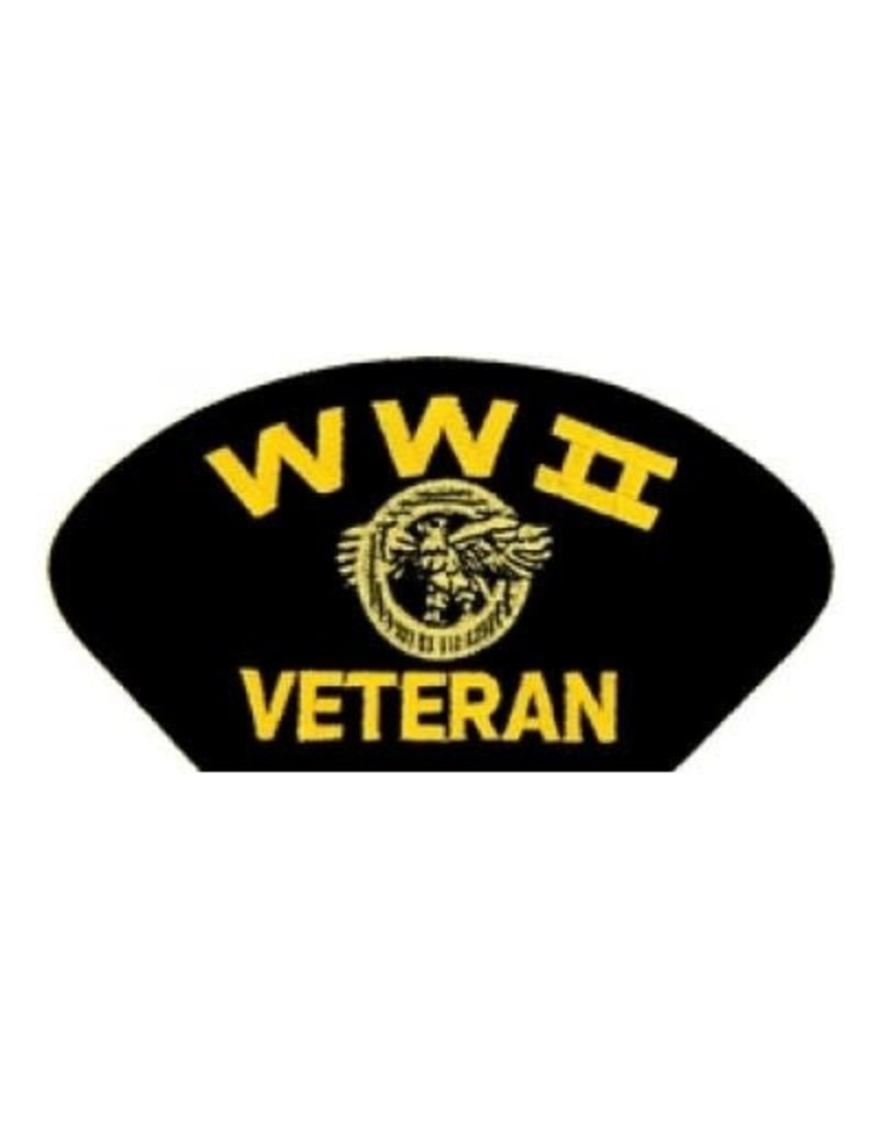 """MidMil Embroidered WWII Veteran Patch with Ruptured Duck 5.2"""" wide x 2.7"""" high Black"""
