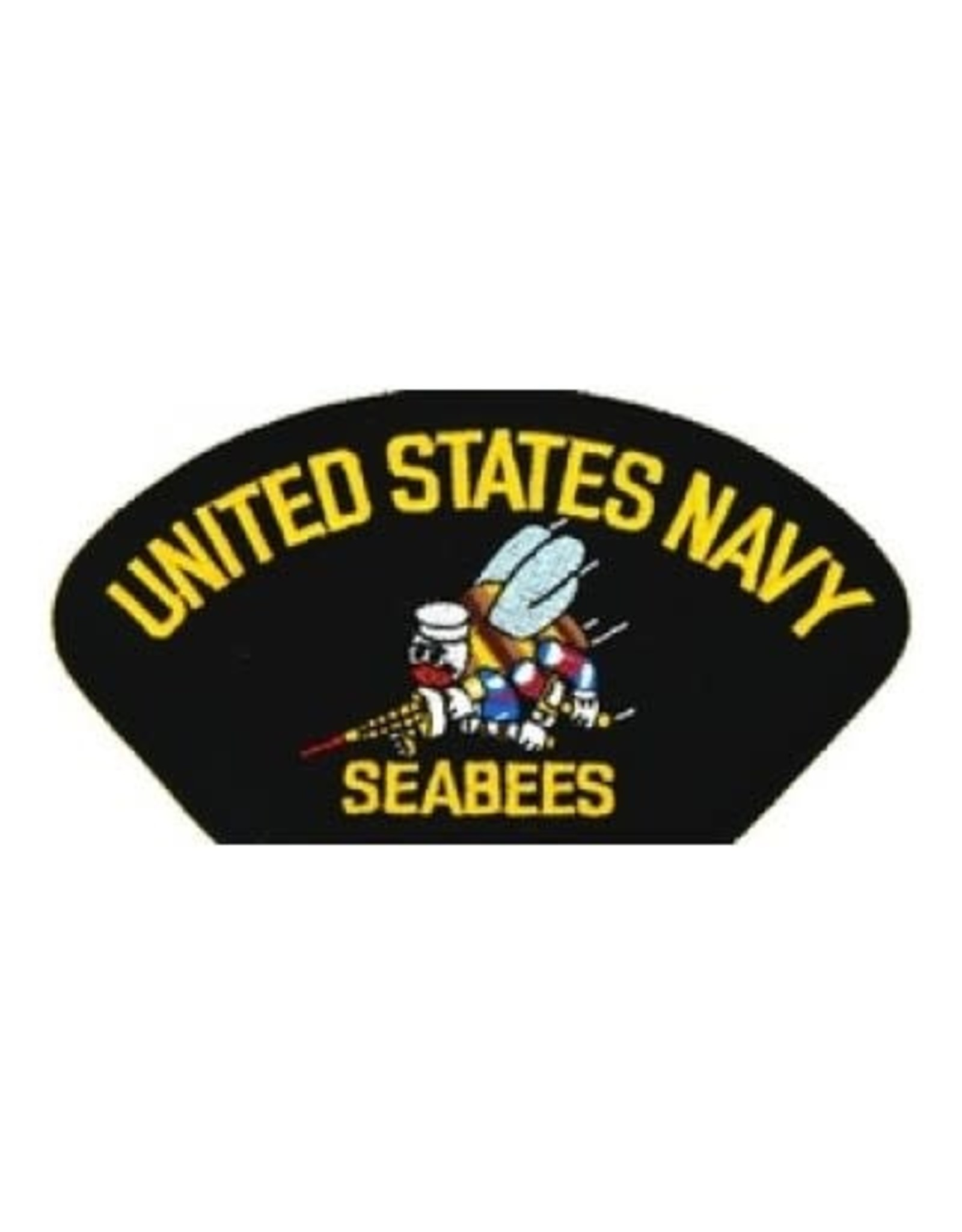 """MidMil Embroidered United States Navy Seabees Patch with Emblem 5.2"""" wide x 2.7"""" high Black"""