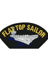 """MidMil Embroidered Flat Top Sailor Patch with Carrier 5.2"""" wide x 2.7"""" high Black"""