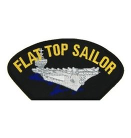 "MidMil Embroidered Flat Top Sailor Patch with Carrier 5.2"" wide x 2.7"" high Black"