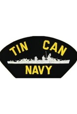 """MidMil Embroidered Tin Can Navy Patch with Destroyer Profile 5.2"""" wide x 2.7"""" high Black"""
