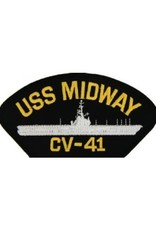"""MidMil Embroidered USS Midway CV-41 Patch with Profile 5.2"""" wide x 2.7"""" high Black"""