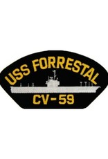 "MidMil Embroidered USS Forrestal CV-59 Patch with Profile 5.2"" wide x 2.7"" high Black"