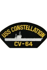 """MidMil Embroidered USS Constellation CV-64 Patch with Profile 5.2"""" wide x 2.7"""" high Black"""