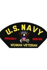 """MidMil Embroidered U. S. Navy Woman Veteran Patch with Emblem and  Proudly Served 5.2"""" wide  x 2.7"""" high Black"""