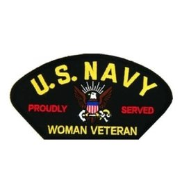 "MidMil Embroidered U. S. Navy Woman Veteran Patch with Emblem and  Proudly Served 5.2"" wide  x 2.7"" high Black"