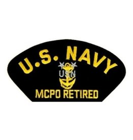 "MidMil Embroidered U.S. Navy MCPO Retired Patch with Emblem 5.2"" wide x 2.7"" high Black"