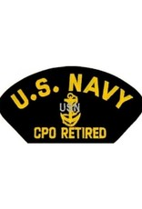 """MidMil Embroidered U.S. Navy CPO Retired with Emblem 5.2"""" wide x 2.7"""" high Black"""