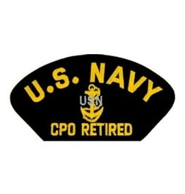 "MidMil Embroidered U.S. Navy CPO Retired with Emblem 5.2"" wide x 2.7"" high Black"