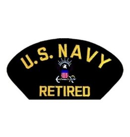 "MidMil Embroidered U.S. Navy Retired with Emblem 5.2"" wide x 2.7"" high Black"