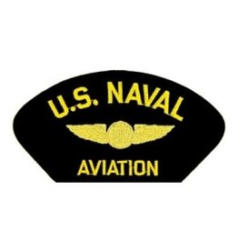 "MidMil Embroidered U.S. Naval Aviation Patch with Air Crew Wings 5.2"" wide x 2.7"" high Black"