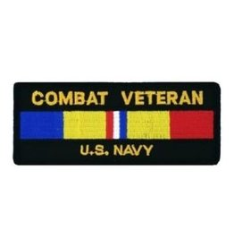 "MidMil Embroidered Combat Veteran U.S. Navy Patch with Combat Action Ribbon 4.4"" wide x 1.9"" high Black"