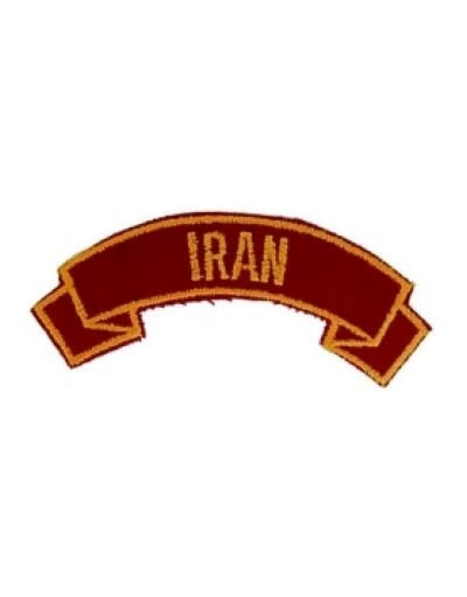 """MidMil Embroidered Marine Corps Country Tab Iran 3.9"""" wide x 1.5"""" high Red"""