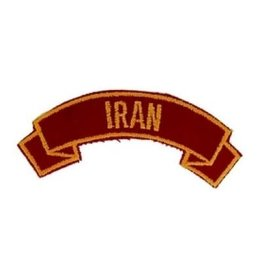 "MidMil Embroidered Marine Corps Country Tab Iran 3.9"" wide x 1.5"" high Red"