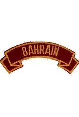 """MidMil Embroidered Marine Corps Country Tab Bahrain 3.9"""" wide x 1.5"""" high Red"""