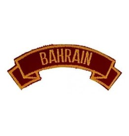 "MidMil Embroidered Marine Corps Country Tab Bahrain 3.9"" wide x 1.5"" high Red"