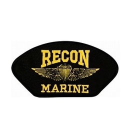 "MidMil Embroidered Recon Marine Patch 5.2"" wide x 2.7"" high Black"