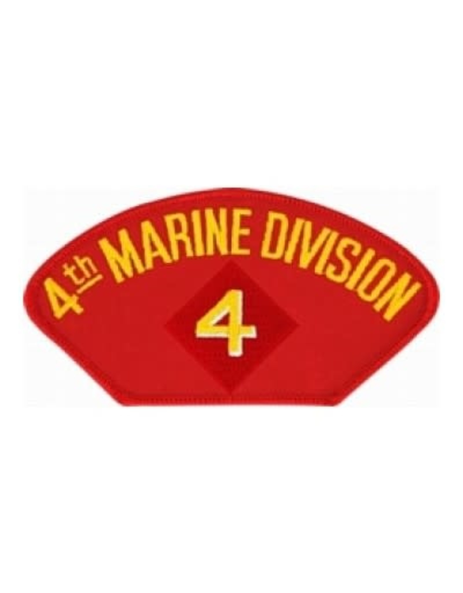 """MidMil Embroidered 4th Marine Division Patch with Emblem 5.2"""" wide x 2.7"""" high Red"""