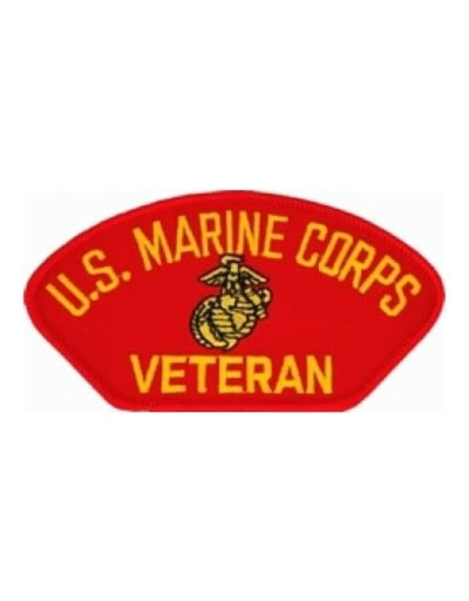"MidMil Embroidered U.S. Marine Corps Veteran Patch with Emblem 5.2"" wide x 2.7"" High Red"