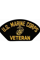 """MidMil Embroidered U.S. Marine Corps Veteran Patch with Emblem 5.2"""" wide x 2.7"""" High Black"""