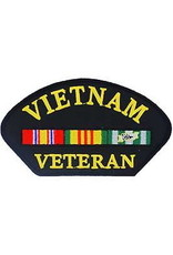 "MidMil Embroidered Vietnam Veteran Patch with Ribbons 5.4"" wide x 2.8"" high Black"