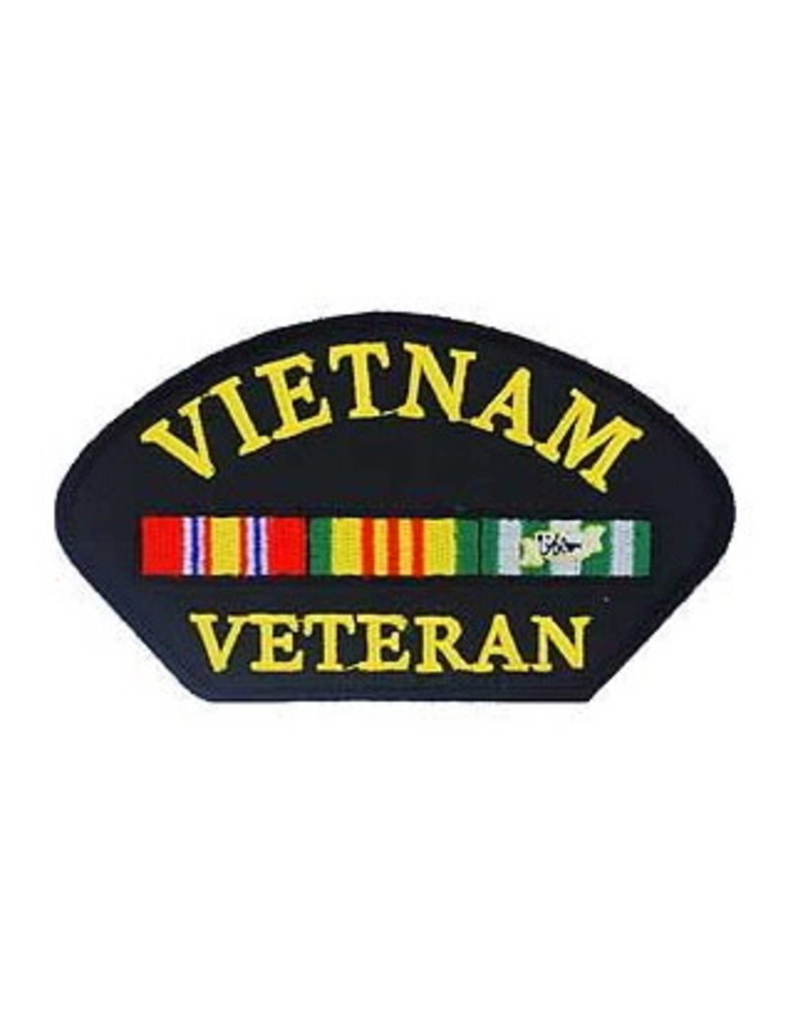 """MidMil Embroidered Vietnam Veteran Patch with Ribbons 5.4"""" wide x 2.8"""" high Black"""