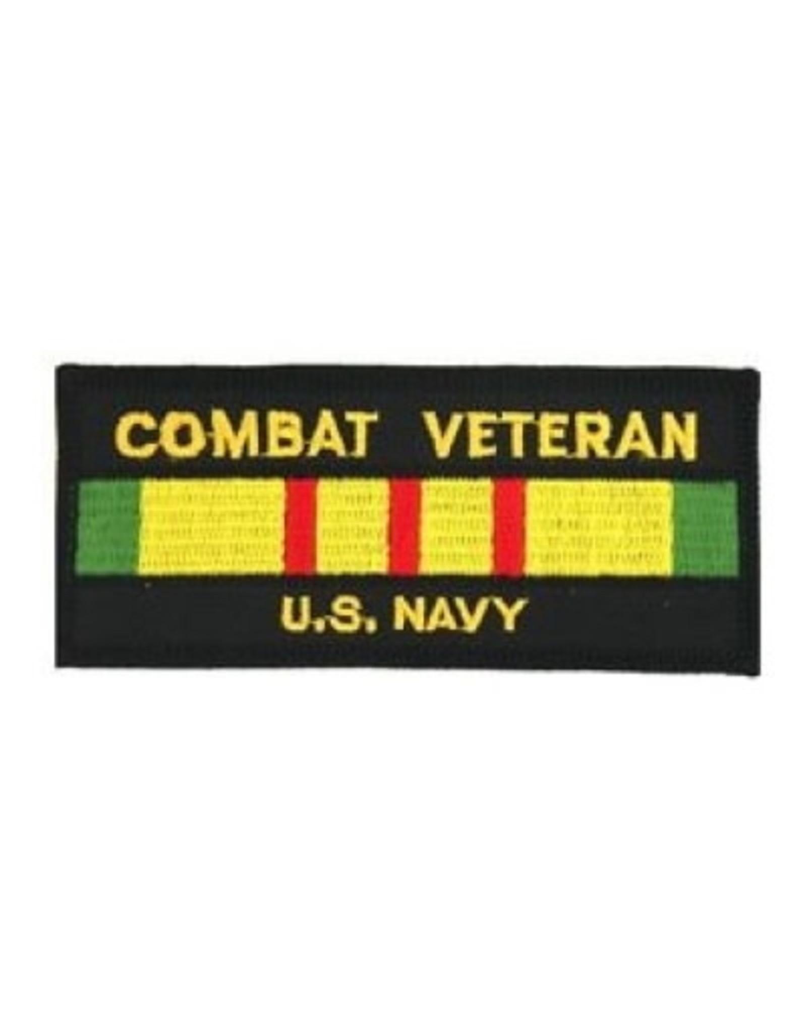"MidMil Embroidered Combat Veteran U.S. Navy Patch with Vietnam Service Ribbon 4.4"" x 1.9"" Black"