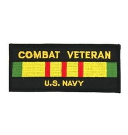 "MidMil Embroidered Combat Veteran U.S. Navy Patch with Vietnam Service Ribbon 4.4"" x 1.9"" Black"