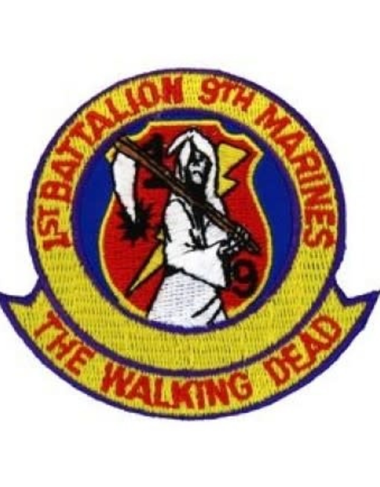 "MidMil Embroidered 1st Batttalion 9th Marines ""The Walking Dead"" Patch 3.1"" wide x 2.8"" high"