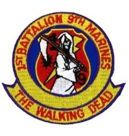 "MidMil Embroidered 1/9 Marines ""The Walking Dead"" Patch 3.1"" wide x 2.8"" high"