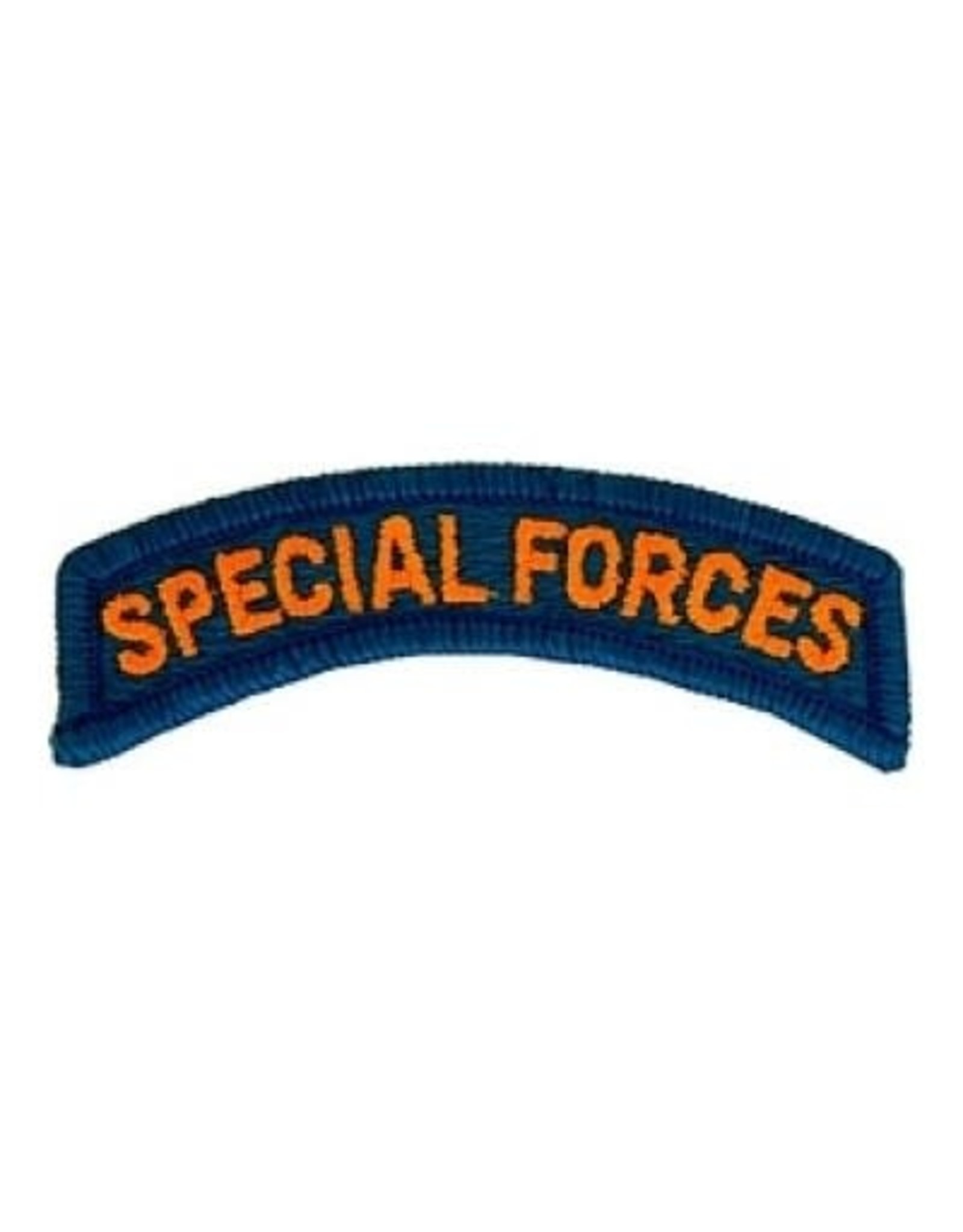 """MidMil Embroidered Special Forces Tab Patch 3.1"""" wide x 1"""" high Gold on Aqua"""