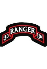 """MidMil Embroidered 3rd Ranger Regiment Patch 3.7"""" wide x 1.9"""" high Black"""