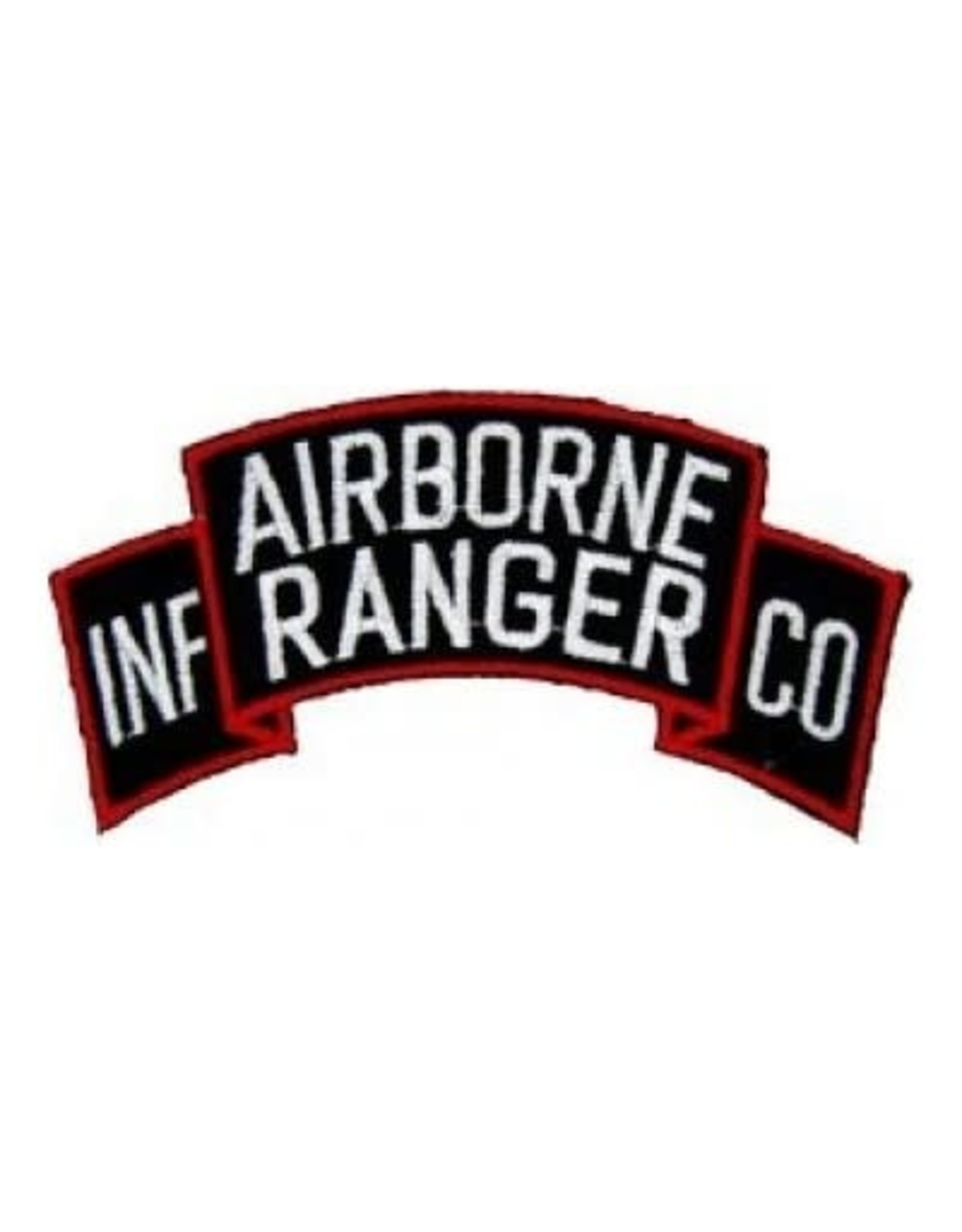 "MidMil Embroidered Airborne Ranger Inf Co Patch 4"" wide x 2"" high Black"