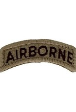 "MidMil Embroidered Airborne Tab Patch 2.3"" wide x 0.9"" high Tan"