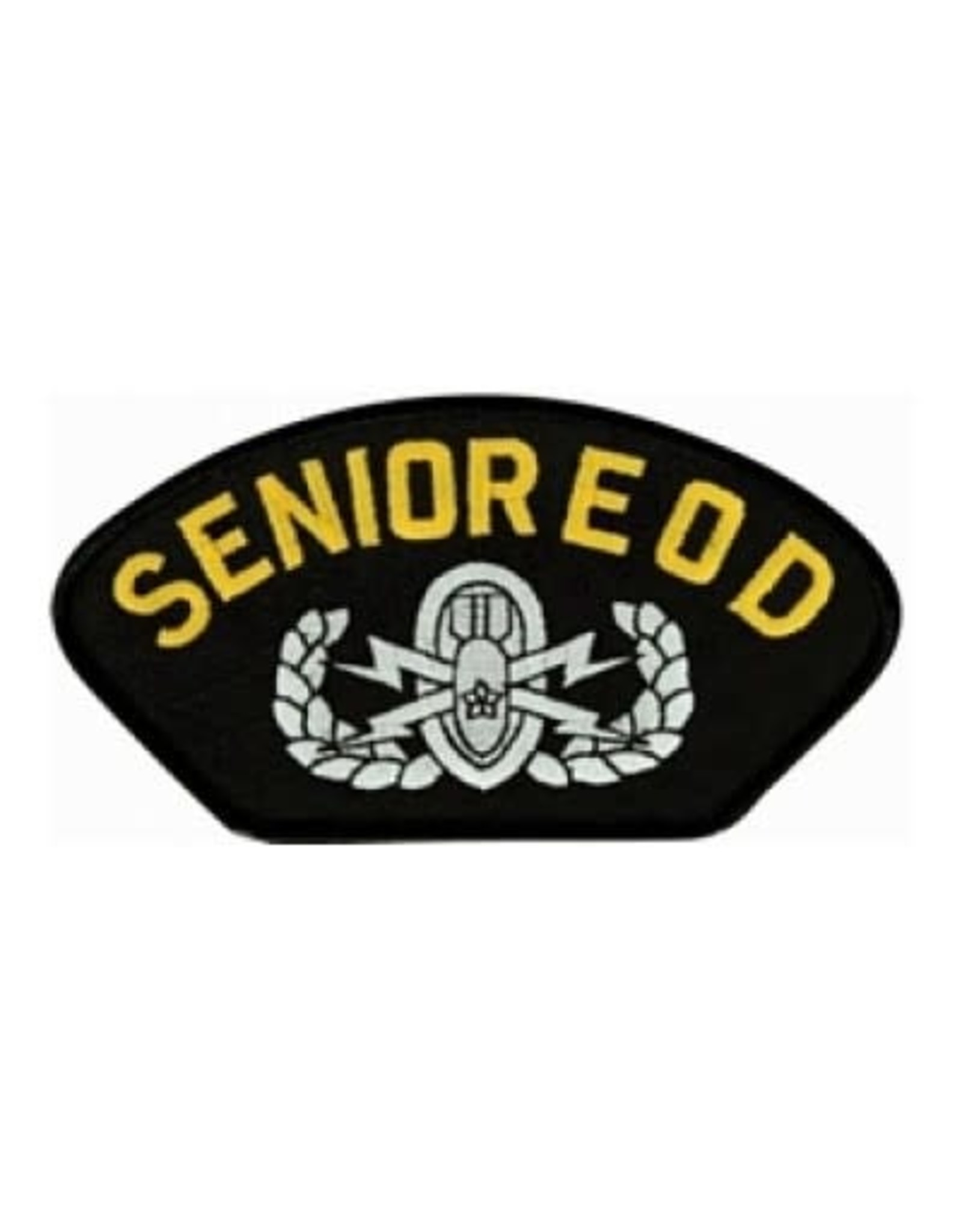 """MidMil Embroidered Army Senior E O D Patch with Emblem 5.2"""" wide x 2.7"""" high Black"""