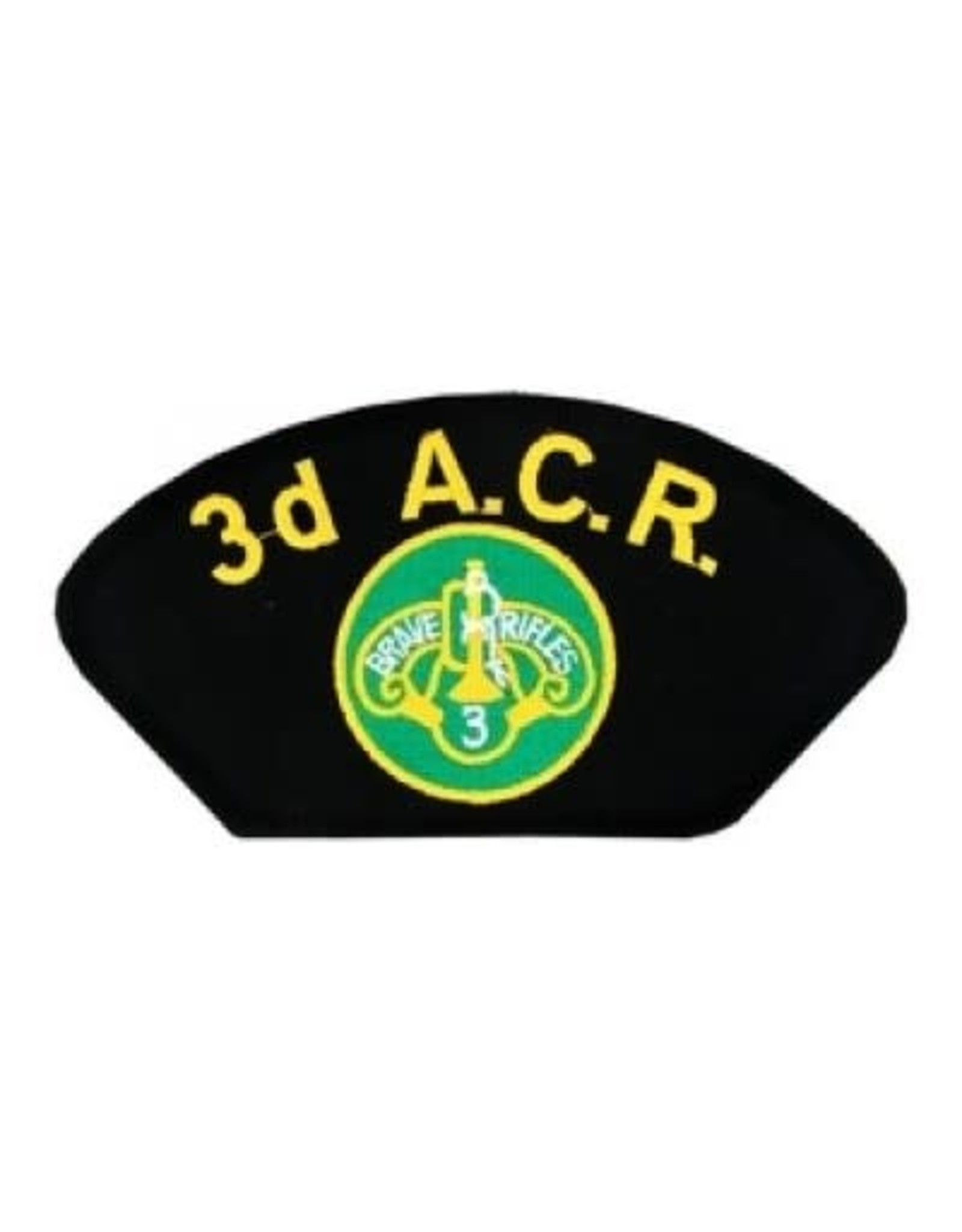 """MidMil Embroidered 3rd Armored Cavalry Regiment Patch with Emblem 5.2"""" wide x 2.7"""" high Black"""