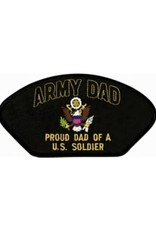 """MidMil Embroidered Army Dad Proud Dad of a U.S. Soldier Patch with Emblem 5.2"""" wide x 2.7"""" high Black"""