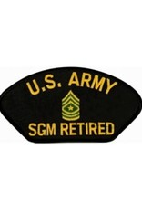 """MidMil Embroidered U.S. Army SGM Retired Patch with Emblem 5.2"""" wide x 2.7"""" high Black"""